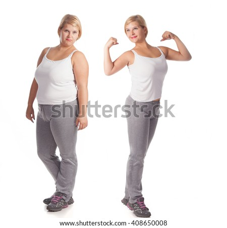 beautiful fat woman before and after weight loss. rejuvenation. Fat woman  comparison thin woman - stock photo