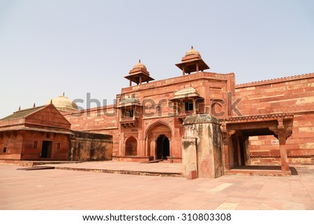 Beautiful Fatehpur Sikri, India. It is a city in Agra district in India. - stock photo