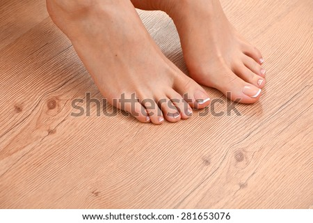 Beautiful Feet Perfect Spa French Nail Stock Photo ...