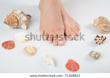 Beautiful feet with perfect spa french pedicure and seashells. white background - stock photo
