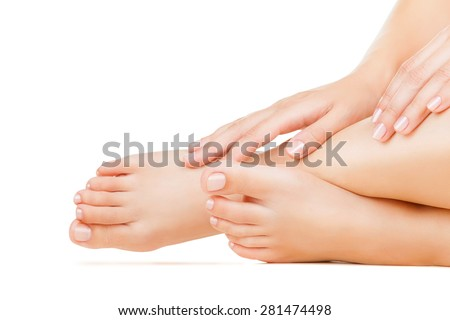 Beautiful female a foot isolated on a white background - stock photo
