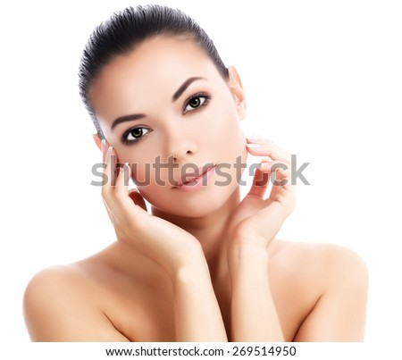 Beautiful female against a white background, isolated, copyspace  - stock photo