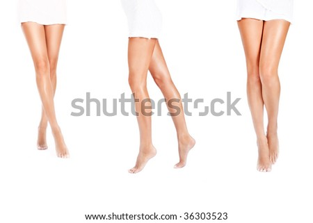 beautiful female barefoot tanned legs on white