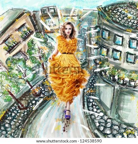 Beautiful female blonde fashion model in yellow dress - stock photo