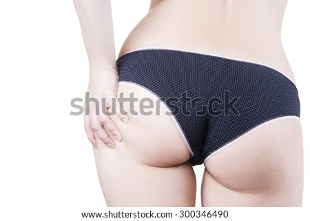 Beautiful female body. Close up of buttocks in panties isolated on white background - stock photo