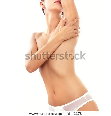 Beautiful female body, isolated on white - stock photo
