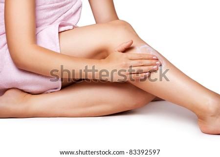 beautiful female body on white background - stock photo
