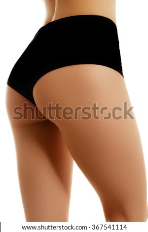 Beautiful female body part. Sexy female buttocks isolated on white background. Beautiful female slim body.Beauty part of female body. Woman's shape with clean skin. Healthy lifestyle, diet and fitness - stock photo
