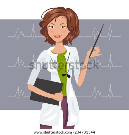 Beautiful female cardiologist in the white coat shows a cardiogram