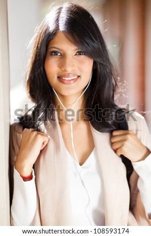 beautiful female college student closeup portrait - stock photo