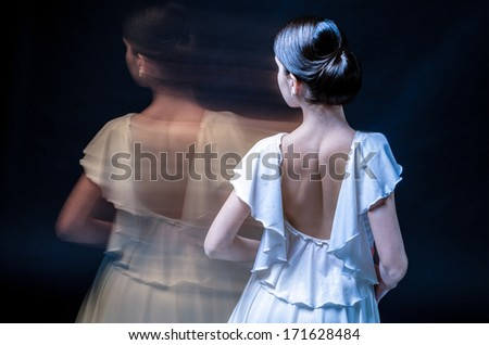 beautiful female dancer  playing her part - stock photo