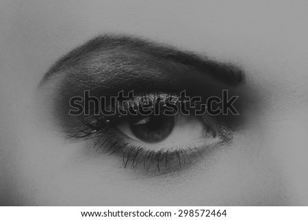 Beautiful female eye. Gorgeous eye makeup. Makeup in the style of the 20s. Work makeup artist - stock photo