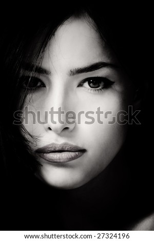 beautiful female face in black and white - stock photo