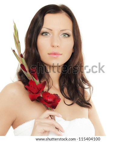 Beautiful female face, spa concept - stock photo