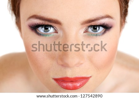 Beautiful female face with bright  make-up, close up - stock photo