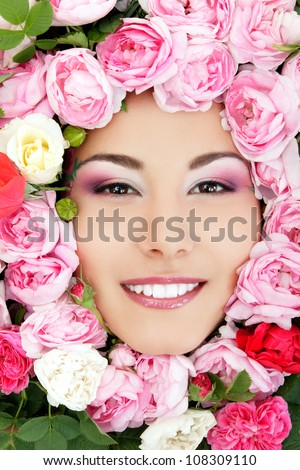 beautiful female face with flowers roses frame isolated on white background - stock photo