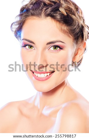 Beautiful female face with pure skin and natural make-up. Spa girl. Skincare, healthcare. Isolated over white background.