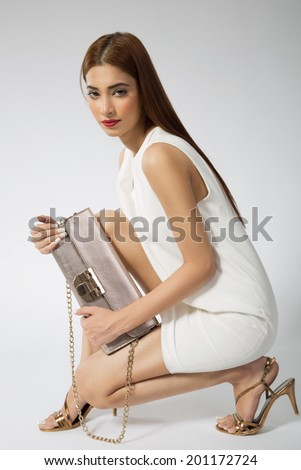 beautiful female fashion model posing for a hand bag and shoes image - stock photo