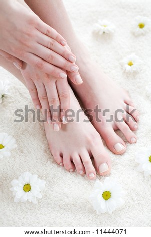 Beautiful female feet and hands / Spa treatment - stock photo