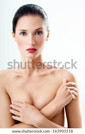 beautiful female figure. perfect skin. - stock photo