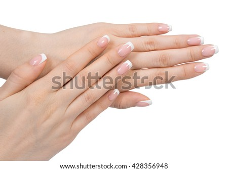 Beautiful female hand with french manicure, care for sensuality woman hands - stock photo