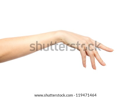 Beautiful female hand with french manicure nails isolated on a white background - stock photo
