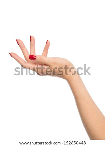 Beautiful female hand with red french manicure nails isolated on a white background - stock photo