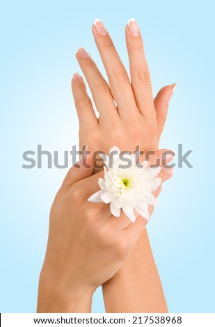 Beautiful female hands - stock photo