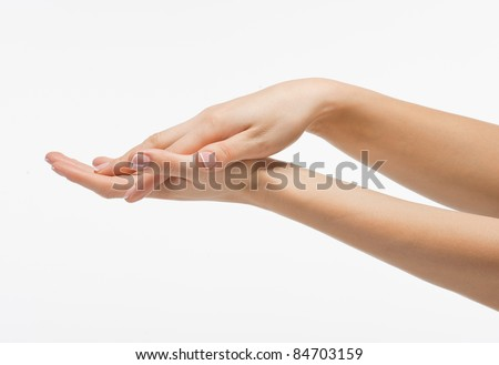 Beautiful female hands, isolated on white background