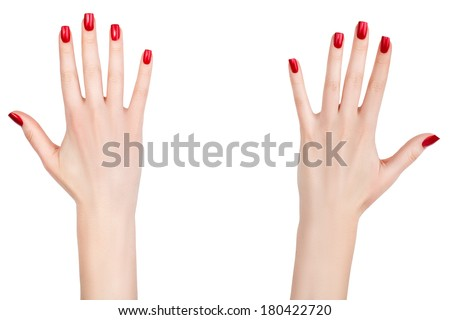 Beautiful female hands with french manicure on nails. Ladies Long fingers. - stock photo