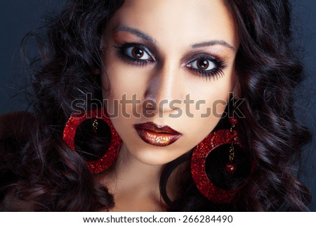 beautiful female high fashion model with curly hair gipsy girl - stock photo