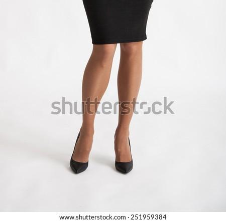 Beautiful female legs - closeup shot - stock photo