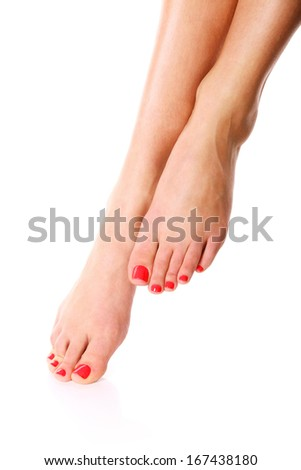 beautiful female legs isolated on white - stock photo