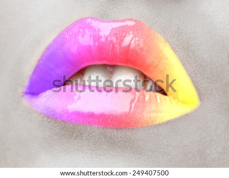 Beautiful female lips, close up - stock photo
