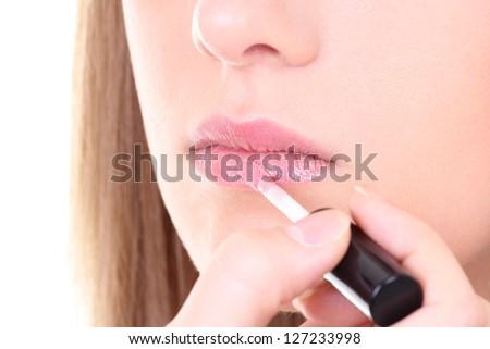beautiful female lips with pink lipstick - stock photo