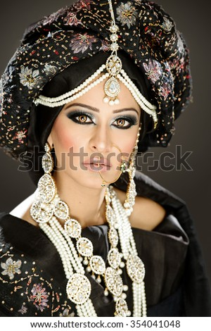 Beautiful female model bride in ethnic bridal costume and jewellery
