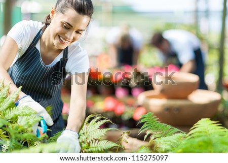 beautiful female nursery worker working in greenhouse
