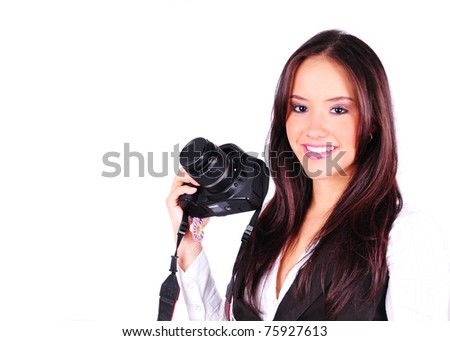 Beautiful female photographer isolated on a white background