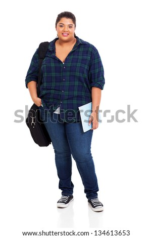 beautiful female plus size college student standing over white background