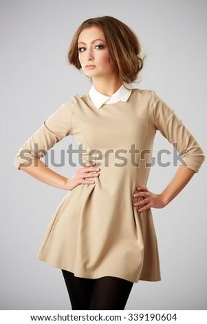 beautiful female posing in summer dress - stock photo