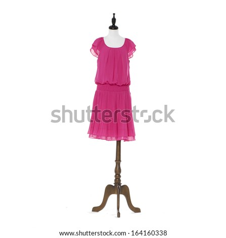 beautiful female red dress on mannequin on white background  - stock photo