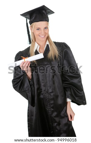 Beautiful female student graduating