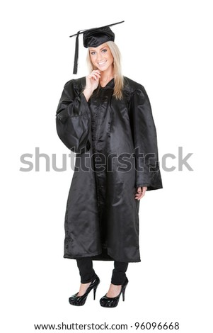 Beautiful female student graduating. Isolated on white
