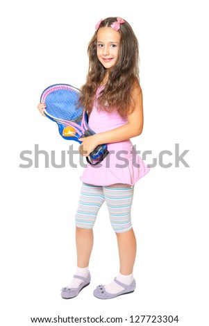 Beautiful female tennis player isolated on white - stock photo