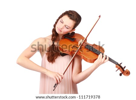 beautiful female violinist playing music with closed eyes isolated on white - stock photo