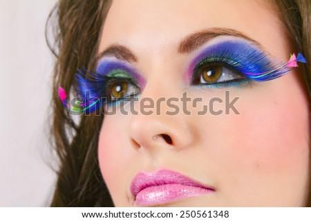 Beautiful Female Wearing Exotic Looking Eyelashes - stock photo