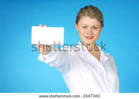 beautiful female with white leaf for text & medicine - stock photo