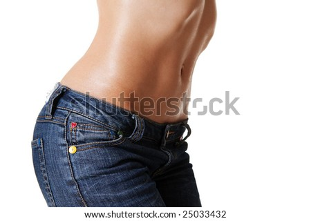 beautiful feminine body in jeans against white background