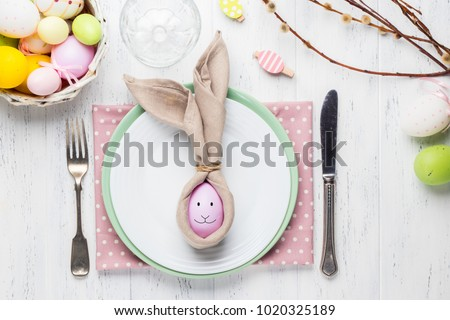 Beautiful festive Easter table setting with napkin Easter Bunny & Beautiful Festive Easter Table Setting Napkin Stock Photo (Edit Now ...