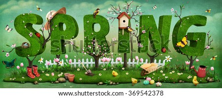 Beautiful festive spring illustration on Mother's Day and Easter with trees   - stock photo